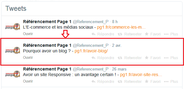 partage article twitter